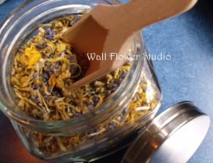 Calendula Chamomile Lavender in Jar with scoop - bath Wall Flower Studio sm