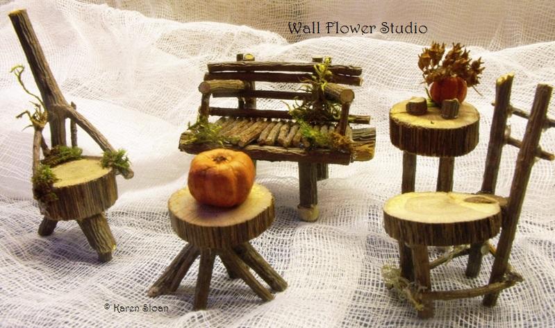 fairy furniture at Wall Flower Studio Garden - copyright Karen Sloan