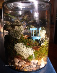 Fairy Terrarium with blue chair - Wall Flower Studio Karen Sloan