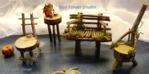 finished fairy garden furniture Karen Sloan 22