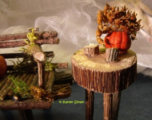 finished fairy garden furniture Karen Sloan bench