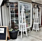 Obelisks at Wall Flower Studio front of shop